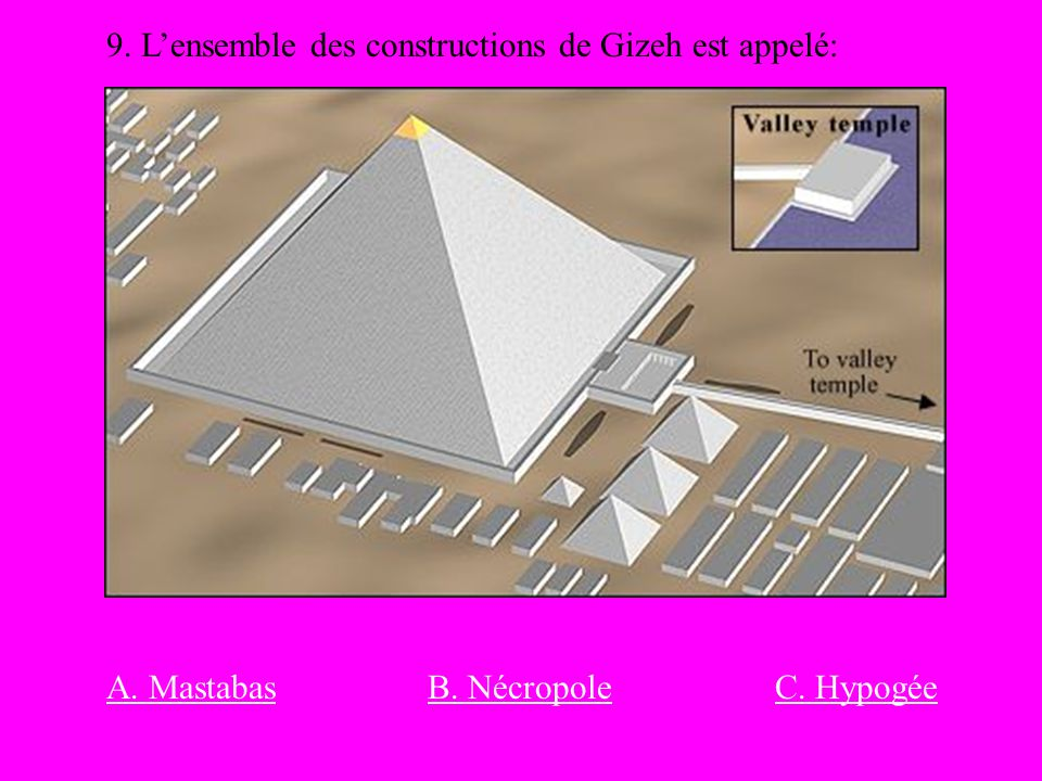 9. L'ensemble des constructions de Gizeh est appelé: