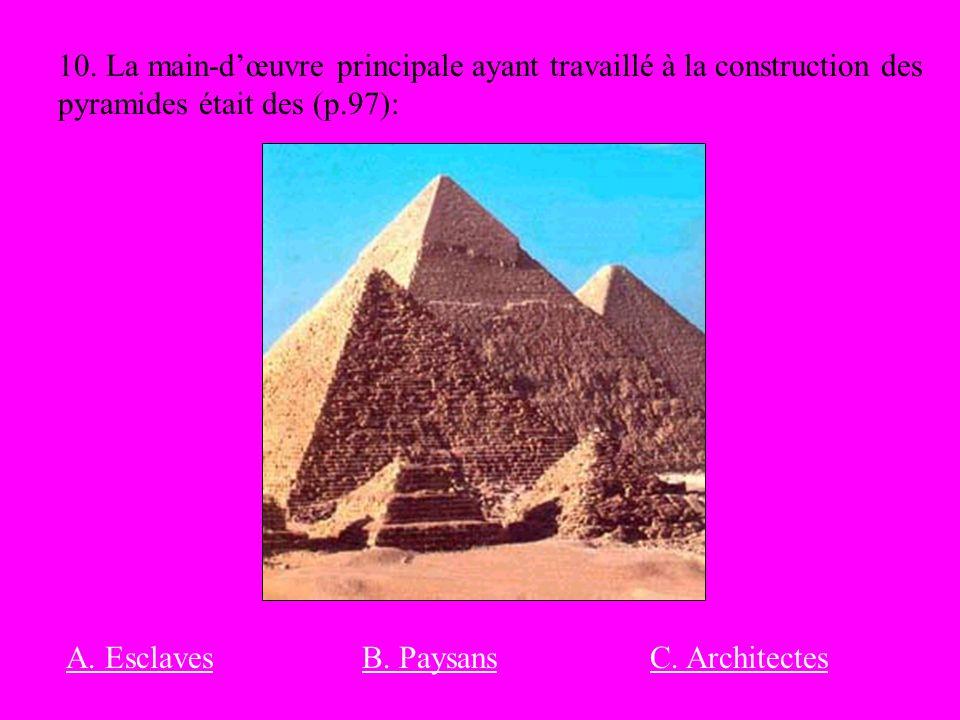 10. La main-d'œuvre principale ayant travaillé à la construction des pyramides était des (p.97):
