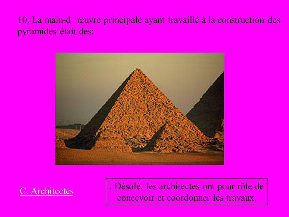 10. La main-d 'œuvre principale ayant travaillé à la construction des pyramides était des:
