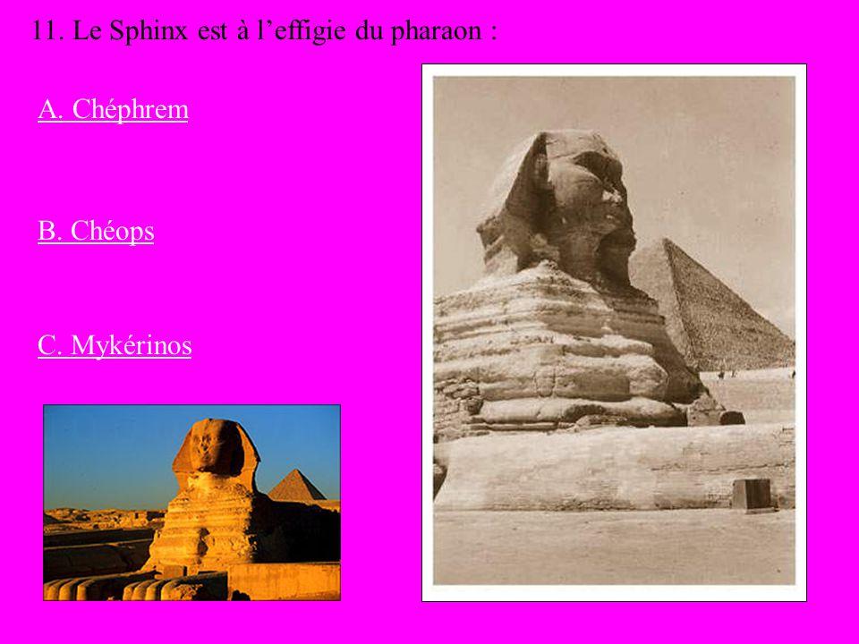 11. Le Sphinx est à l'effigie du pharaon :