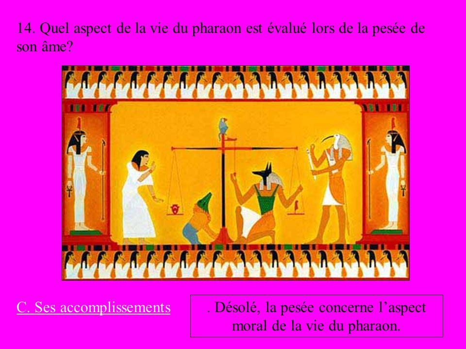 . Désolé, la pesée concerne l'aspect moral de la vie du pharaon.