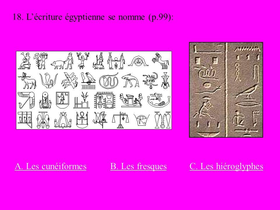 18. L'écriture égyptienne se nomme (p.99):