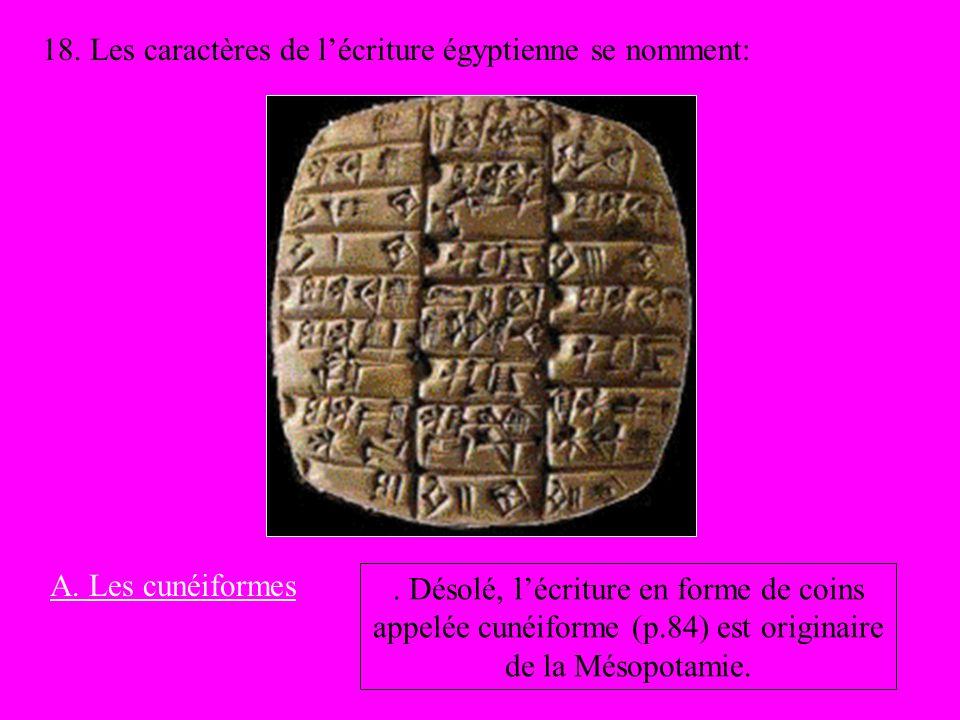 18. Les caractères de l'écriture égyptienne se nomment: