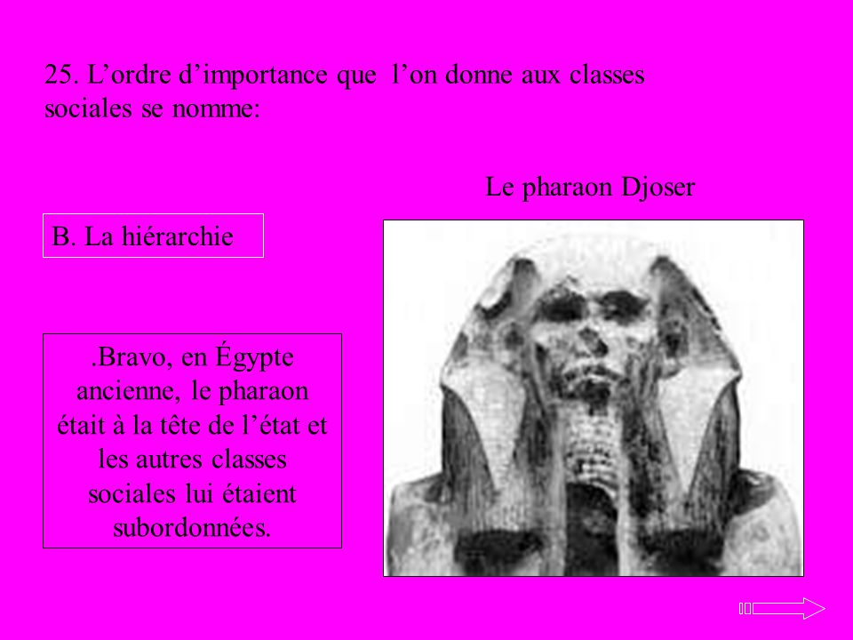 25. L'ordre d'importance que l'on donne aux classes sociales se nomme: