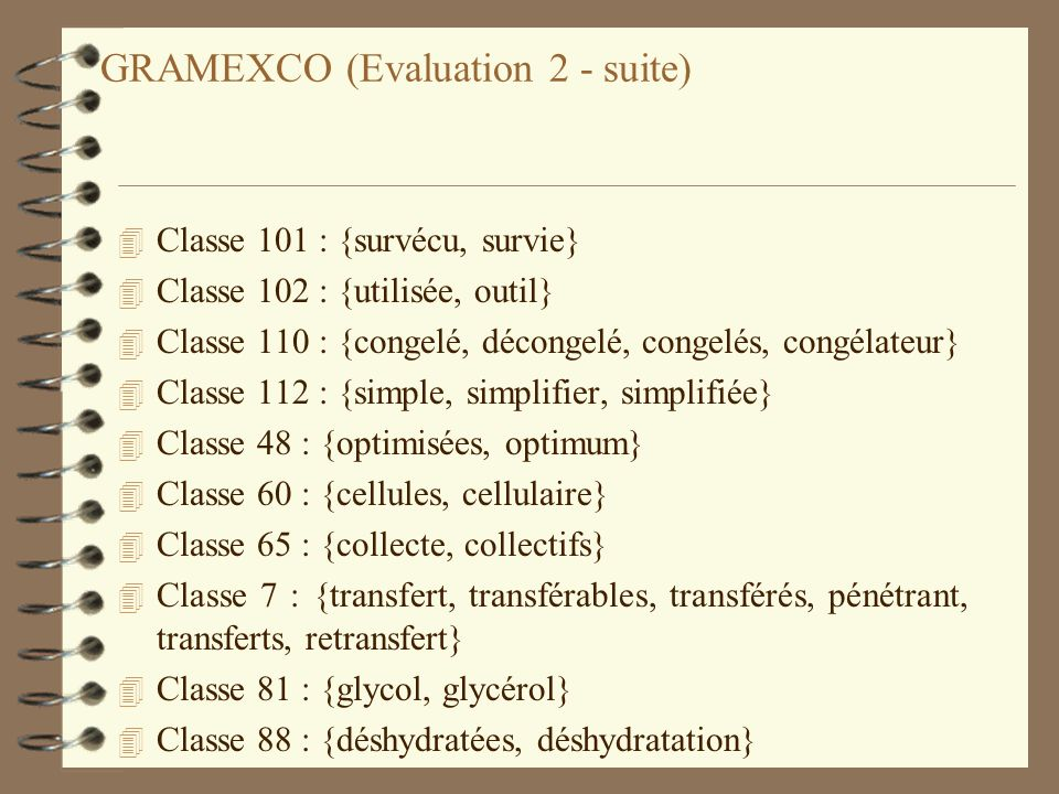 GRAMEXCO (Evaluation 2 - suite)