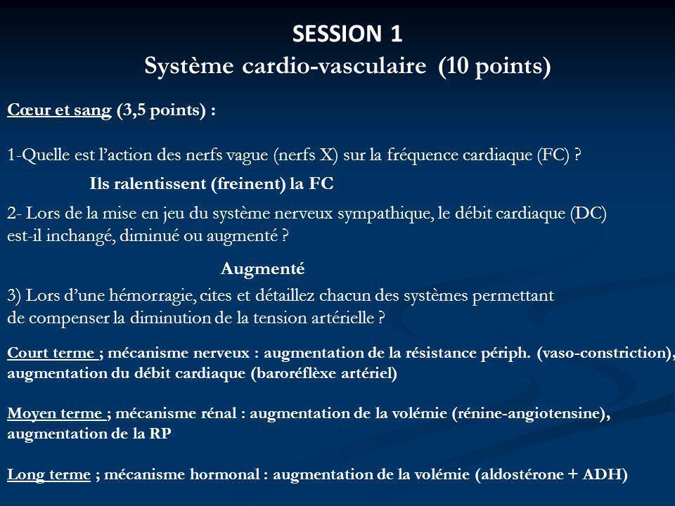 Système cardio-vasculaire (10 points)