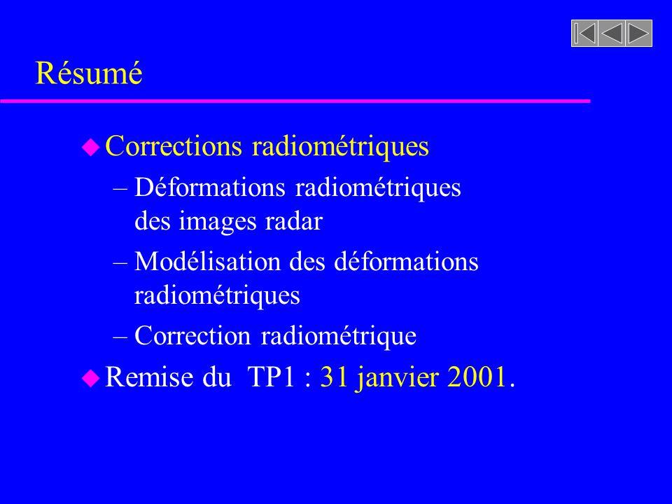 Résumé Corrections radiométriques Remise du TP1 : 31 janvier 2001.