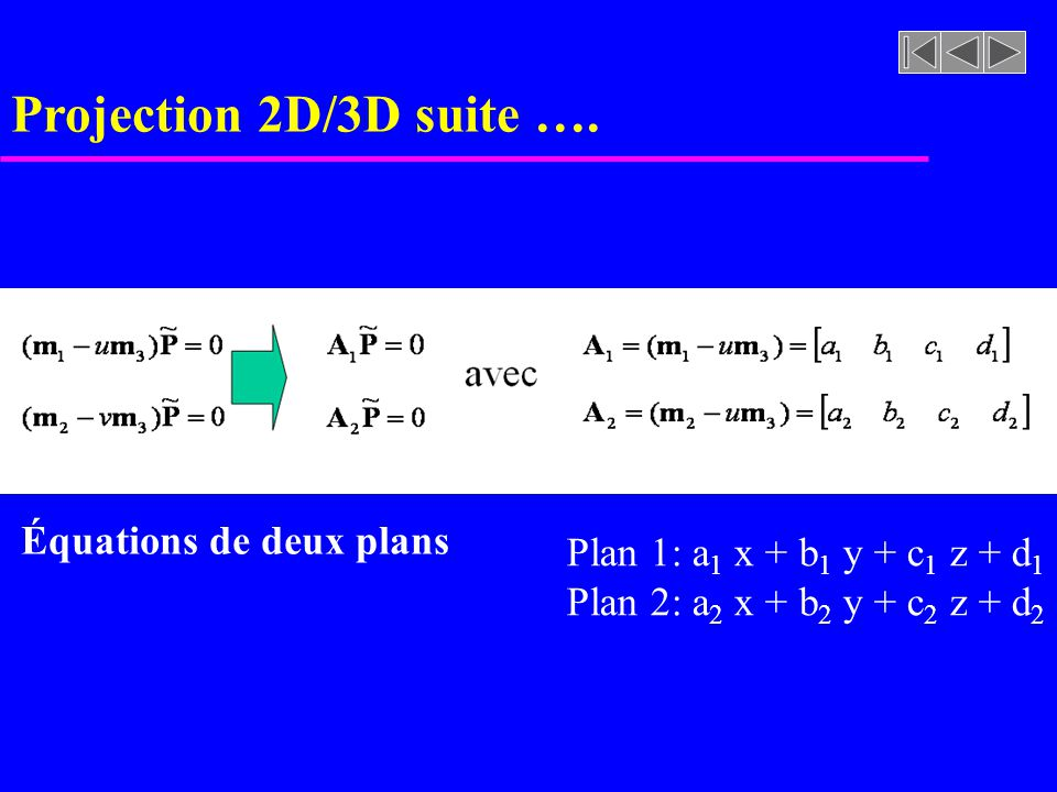 Projection 2D/3D suite …. Équations de deux plans
