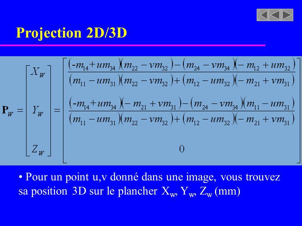 Projection 2D/3D Pour un point u,v donné dans une image, vous trouvez
