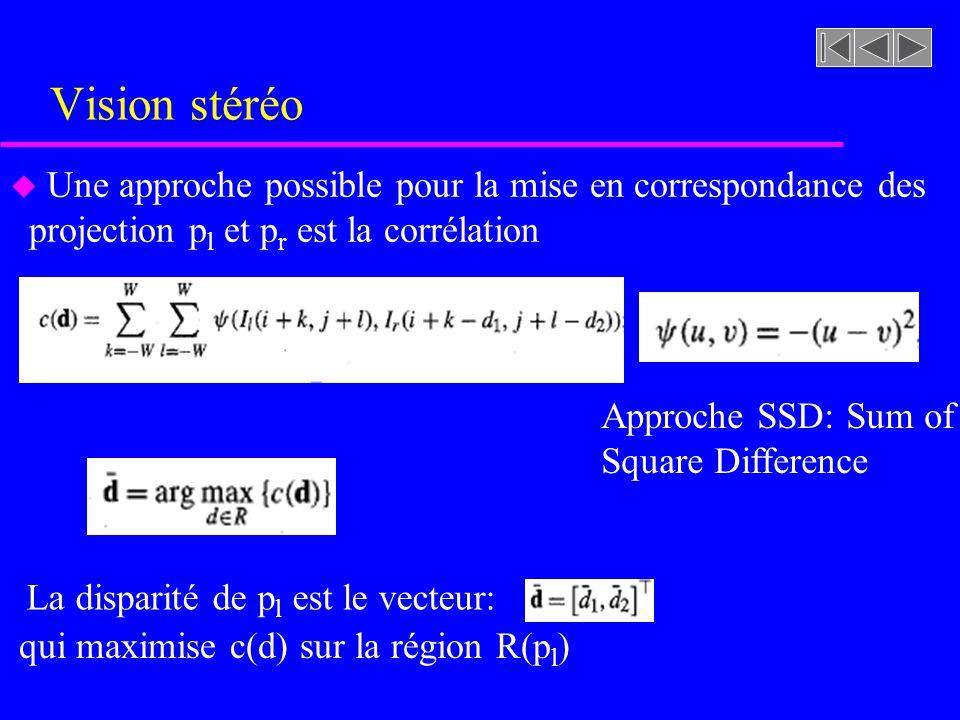 Vision stéréo Une approche possible pour la mise en correspondance des projection pl et pr est la corrélation.