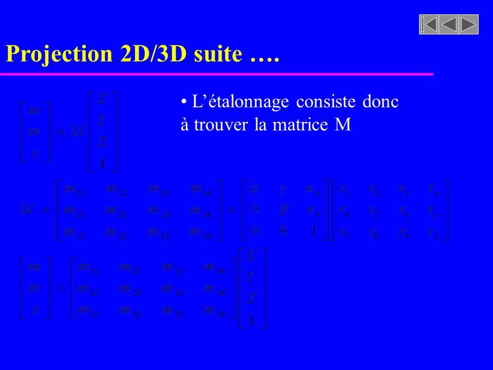 Projection 2D/3D suite …. L'étalonnage consiste donc