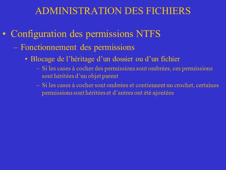 ADMINISTRATION DES FICHIERS