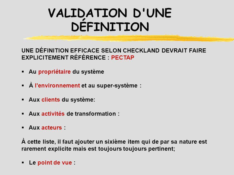 VALIDATION D UNE DÉFINITION