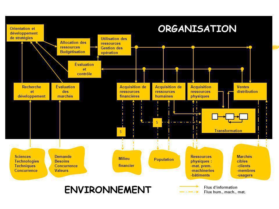 ORGANISATION ENVIRONNEMENT Orientation et développement de stratégies