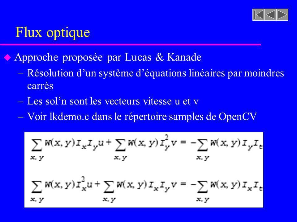 Flux optique Approche proposée par Lucas & Kanade
