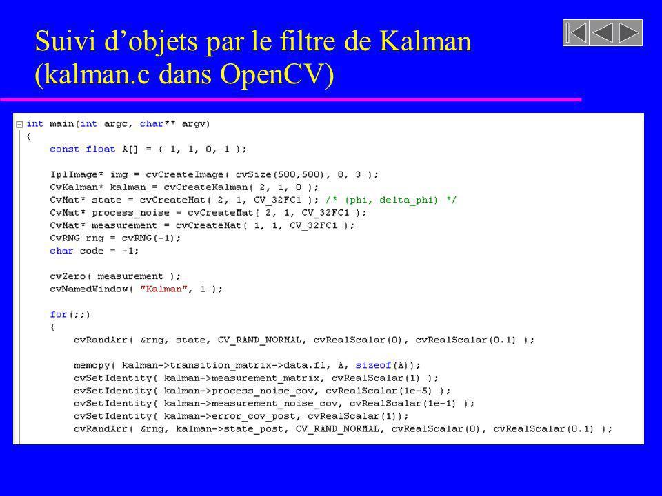 Suivi d'objets par le filtre de Kalman (kalman.c dans OpenCV)