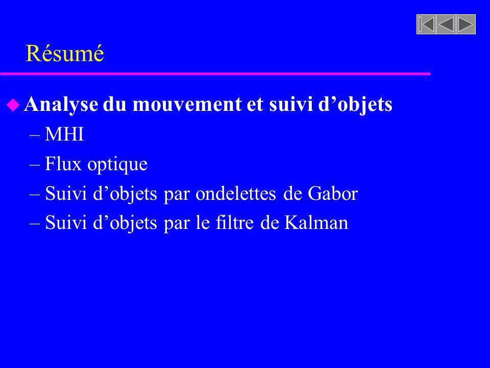 Résumé Analyse du mouvement et suivi d'objets MHI Flux optique