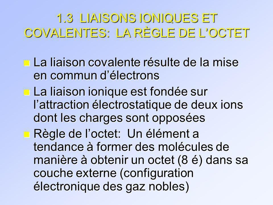 1.3 LIAISONS IONIQUES ET COVALENTES: LA RÈGLE DE L'OCTET