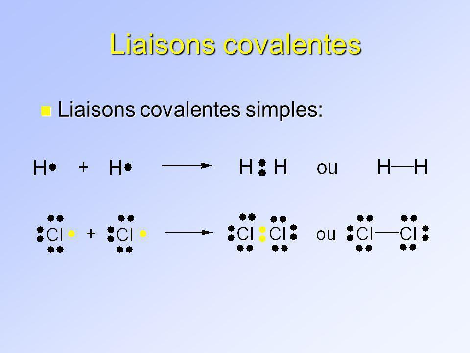 Liaisons covalentes Liaisons covalentes simples: