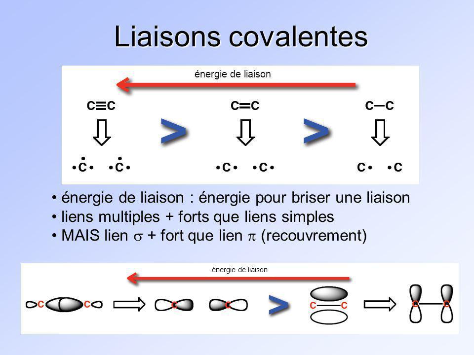 Liaisons covalentes énergie de liaison. énergie de liaison : énergie pour briser une liaison. liens multiples + forts que liens simples.