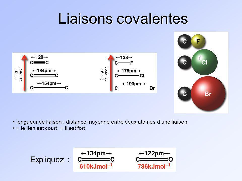 Liaisons covalentes Expliquez :