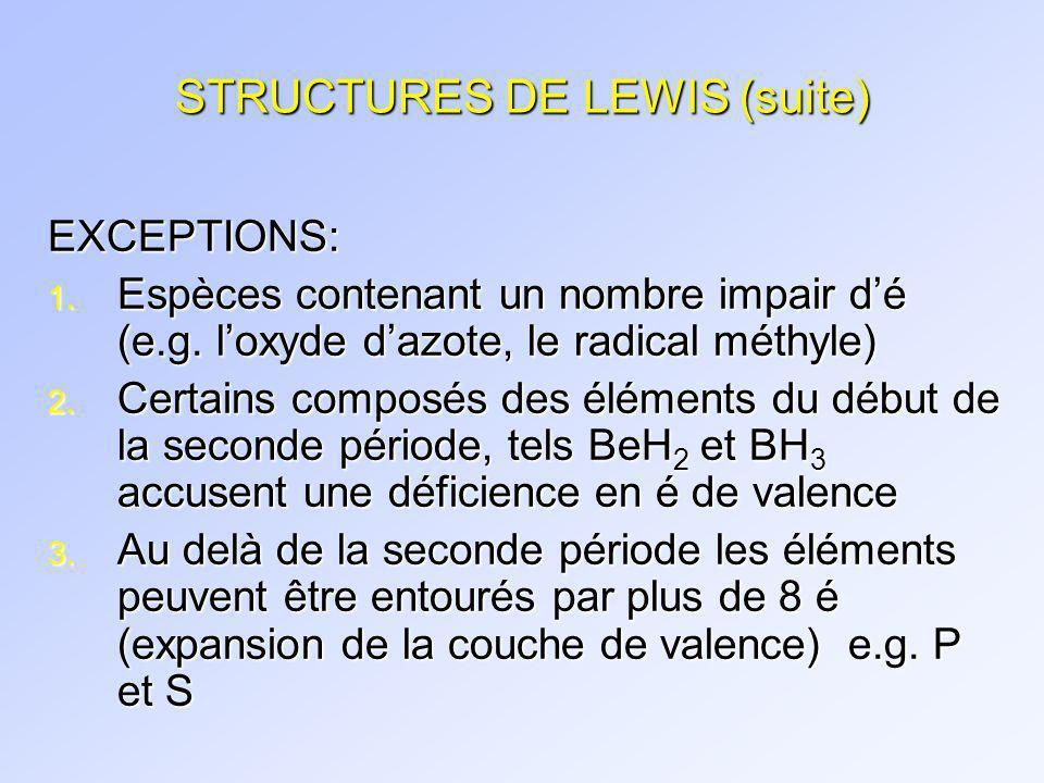 STRUCTURES DE LEWIS (suite)