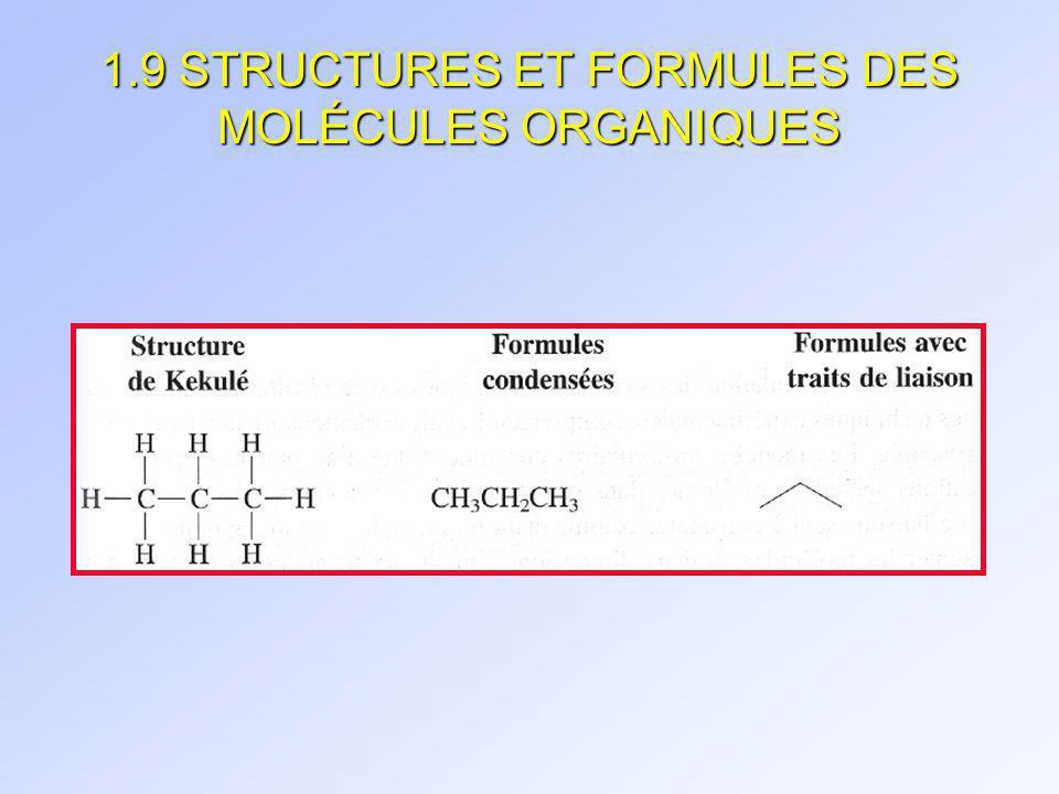 1.9 STRUCTURES ET FORMULES DES MOLÉCULES ORGANIQUES