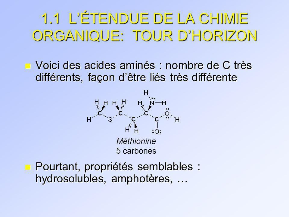 1.1 L'ÉTENDUE DE LA CHIMIE ORGANIQUE: TOUR D'HORIZON