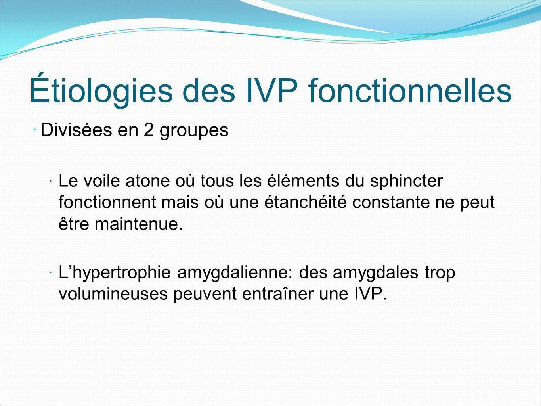 Étiologies des IVP fonctionnelles