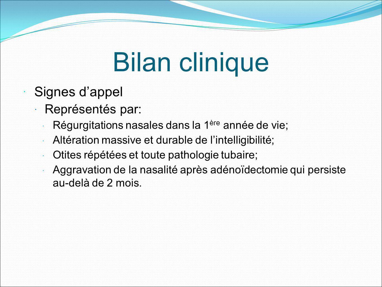 Bilan clinique Signes d'appel Représentés par: