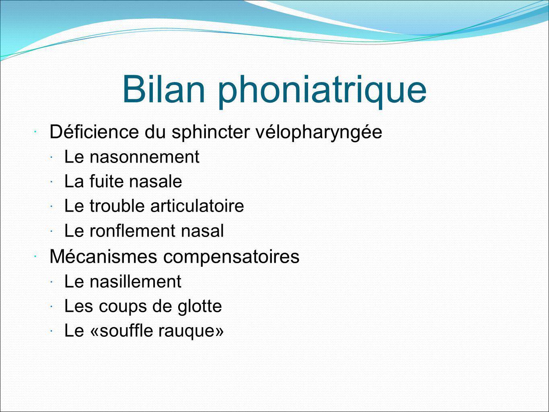 Bilan phoniatrique Déficience du sphincter vélopharyngée