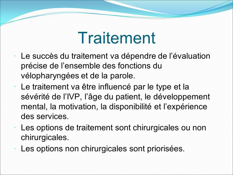 Traitement Le succès du traitement va dépendre de l'évaluation précise de l'ensemble des fonctions du vélopharyngées et de la parole.