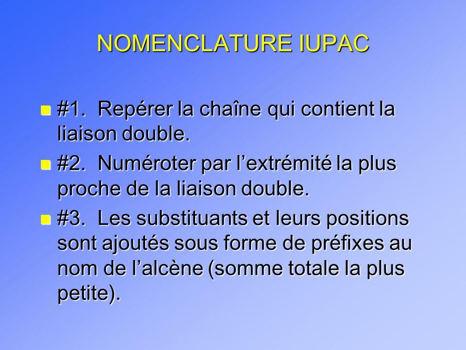 NOMENCLATURE IUPAC #1. Repérer la chaîne qui contient la liaison double. #2. Numéroter par l'extrémité la plus proche de la liaison double.