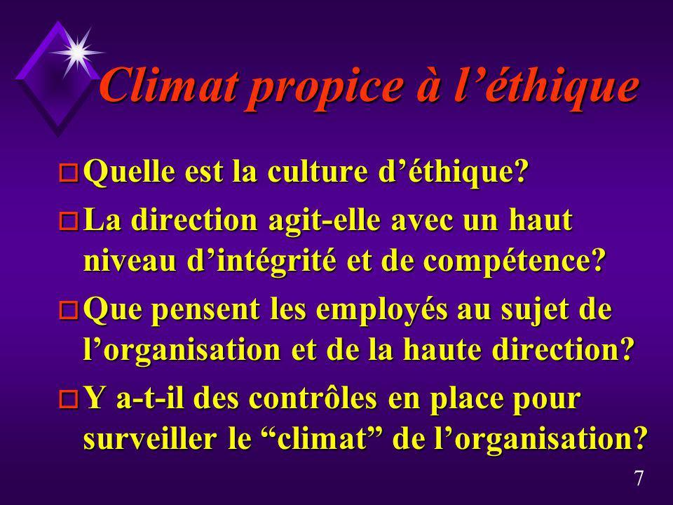 Climat propice à l'éthique
