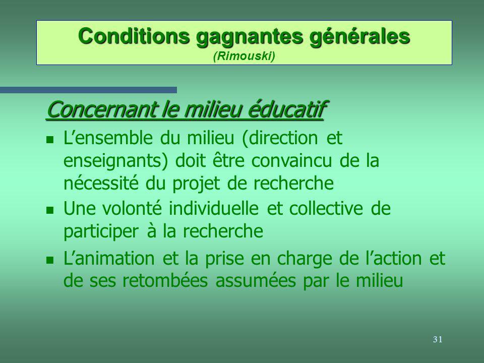 Conditions gagnantes générales (Rimouski)