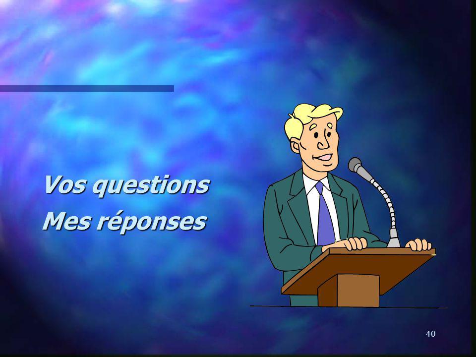 Vos questions Mes réponses