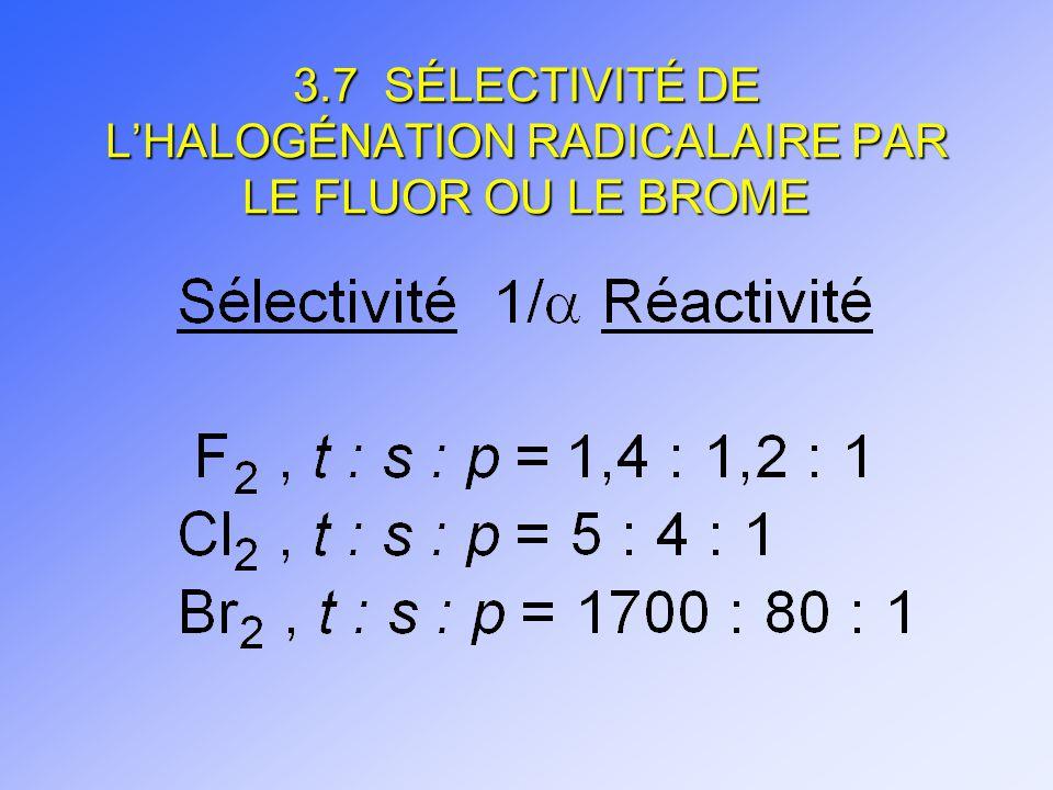 3.7 SÉLECTIVITÉ DE L'HALOGÉNATION RADICALAIRE PAR LE FLUOR OU LE BROME