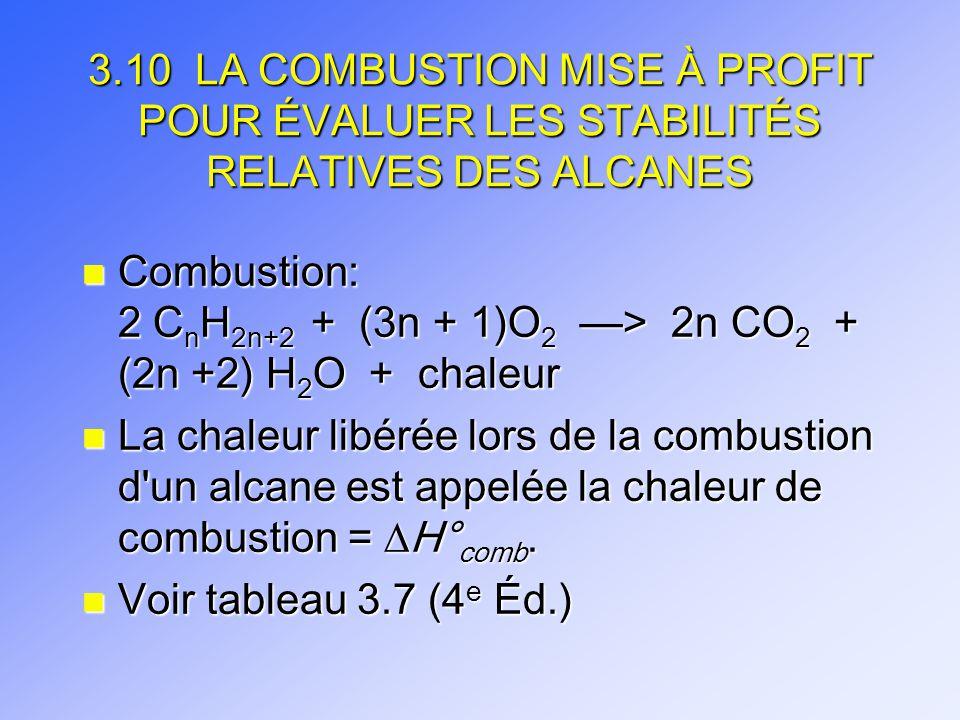 3.10 LA COMBUSTION MISE À PROFIT POUR ÉVALUER LES STABILITÉS RELATIVES DES ALCANES