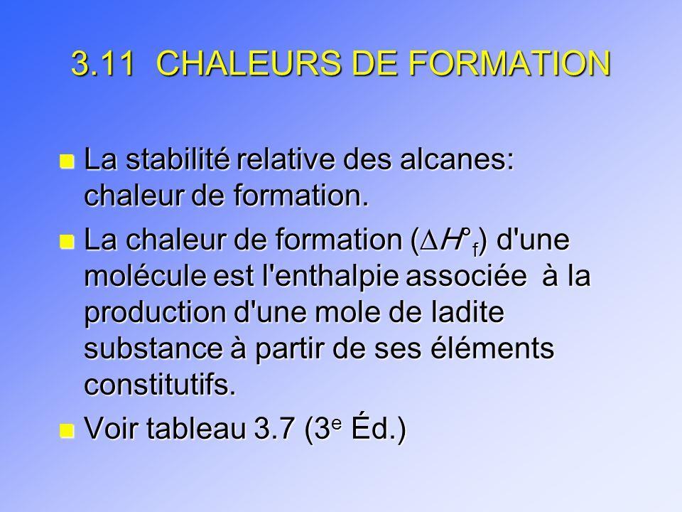 3.11 CHALEURS DE FORMATION La stabilité relative des alcanes: chaleur de formation.