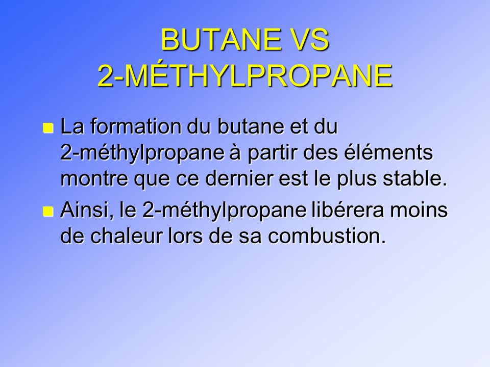 BUTANE VS 2-MÉTHYLPROPANE