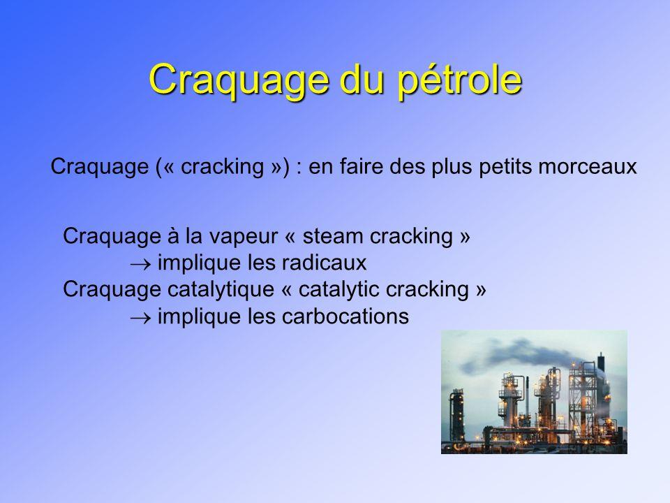 Craquage du pétrole Craquage (« cracking ») : en faire des plus petits morceaux. Craquage à la vapeur « steam cracking »