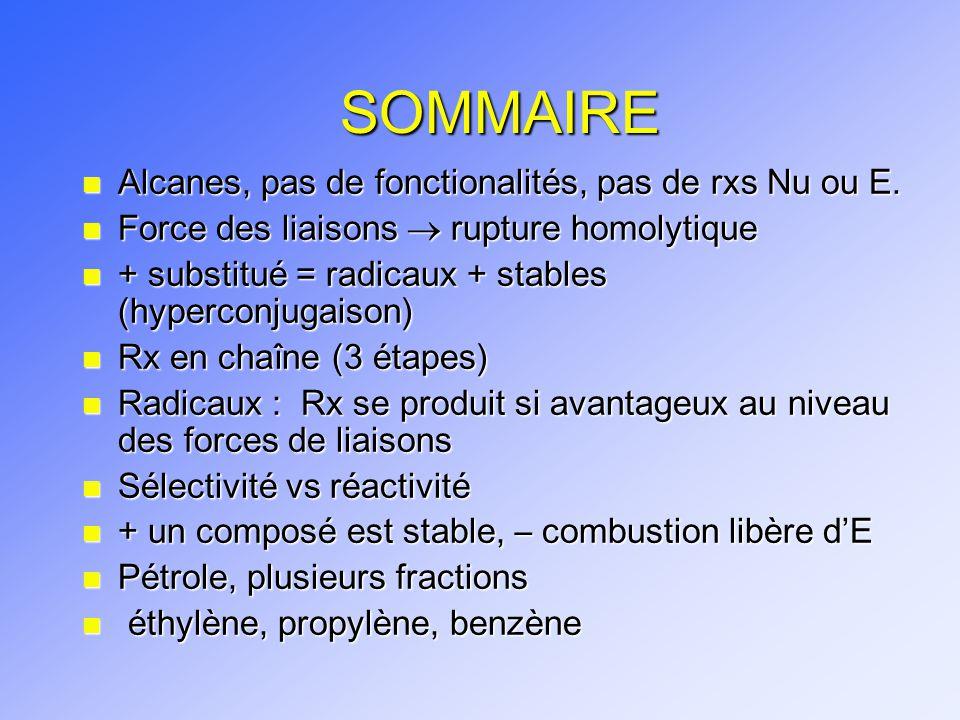 SOMMAIRE Alcanes, pas de fonctionalités, pas de rxs Nu ou E.