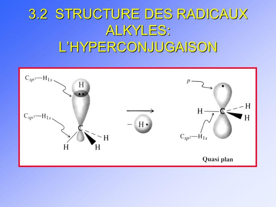 3.2 STRUCTURE DES RADICAUX ALKYLES: L'HYPERCONJUGAISON