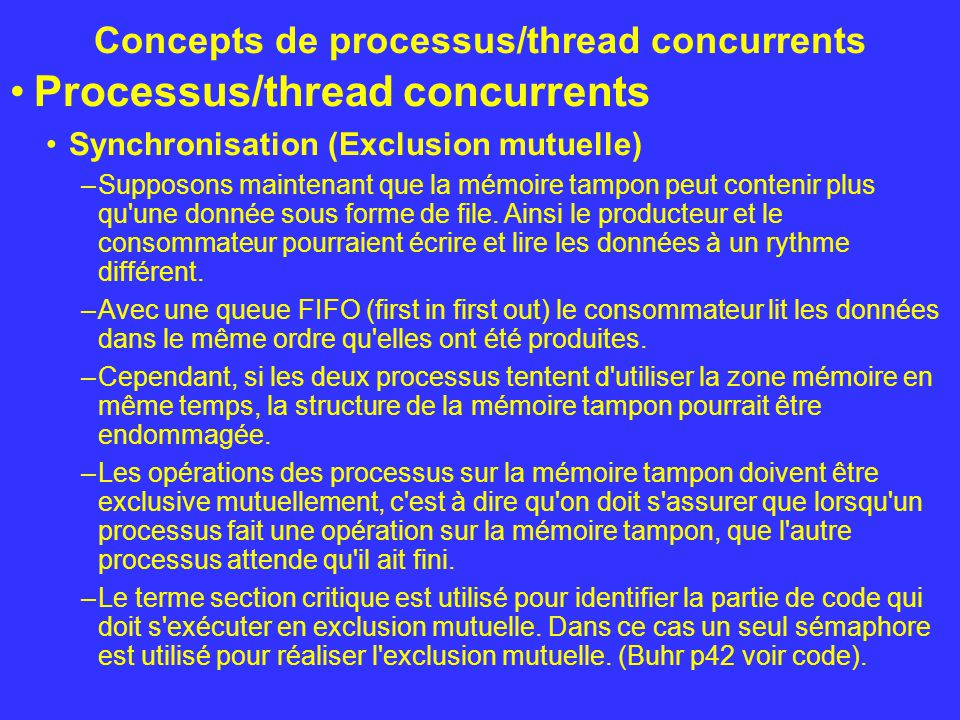 Concepts de processus/thread concurrents