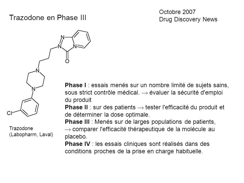 Trazodone en Phase III Octobre 2007 Drug Discovery News