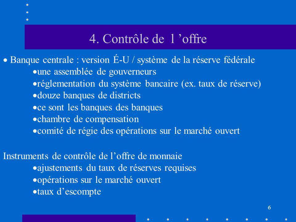4. Contrôle de l 'offre Banque centrale : version É-U / système de la réserve fédérale. une assemblée de gouverneurs.