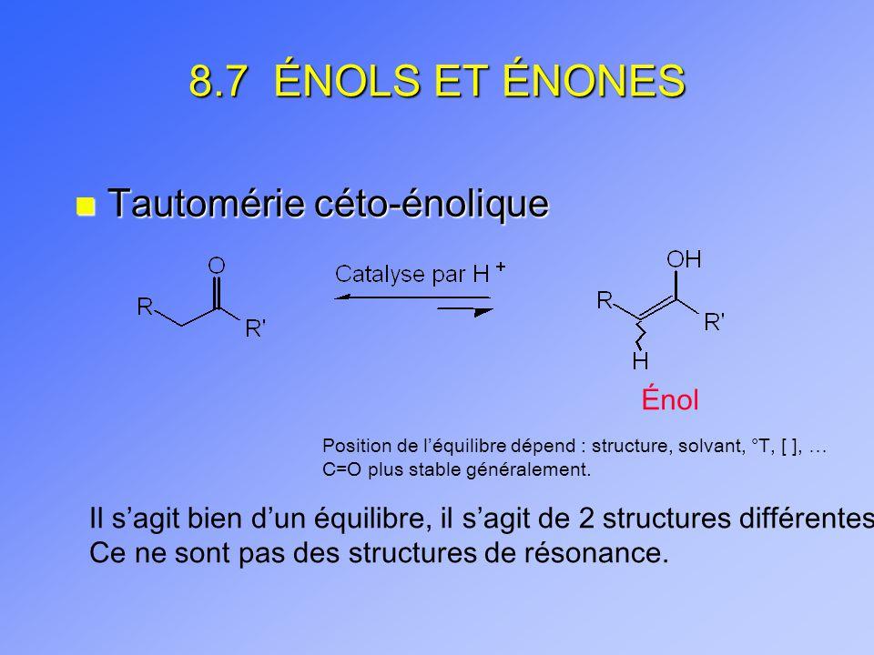 8.7 ÉNOLS ET ÉNONES Tautomérie céto-énolique Énol