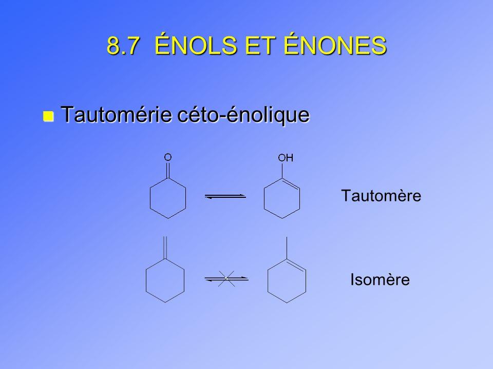 8.7 ÉNOLS ET ÉNONES Tautomérie céto-énolique Tautomère Isomère