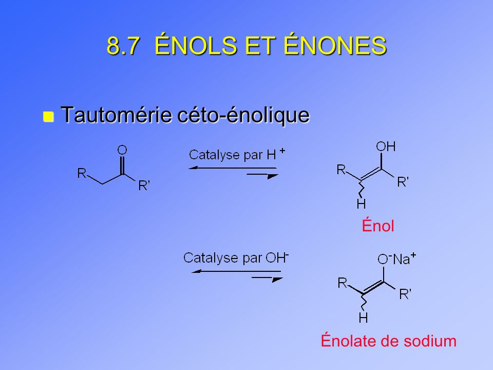 8.7 ÉNOLS ET ÉNONES Tautomérie céto-énolique Énol Énolate de sodium