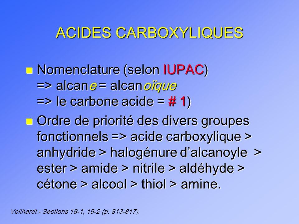 ACIDES CARBOXYLIQUES Nomenclature (selon IUPAC) => alcane = alcanoïque => le carbone acide = # 1)